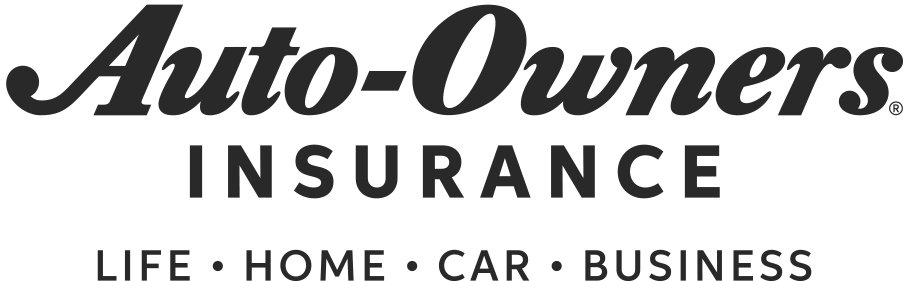 Auto-Owners Insurance Logo in black with description stating Life, Home, Car, Business